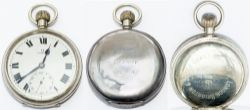 London Brighton and South Coast Railway nickel cased pocket watch with Swiss Omega top wound and top