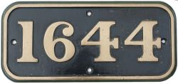 BR-W brass cabside numberplate 1644 ex Hawksworth 0-6-0 PT built at Swindon in 1951 and delivered
