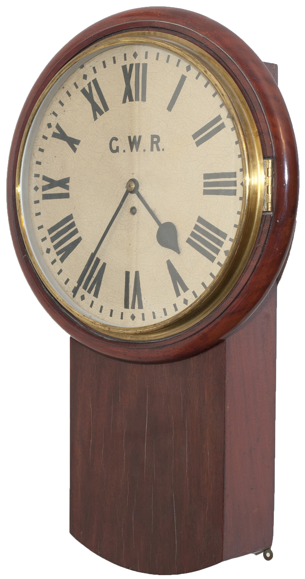 Lot 229 - Great Western Railway mahogany cased drop dial 14 inch fusee clock lettered on the dial G.W.R
