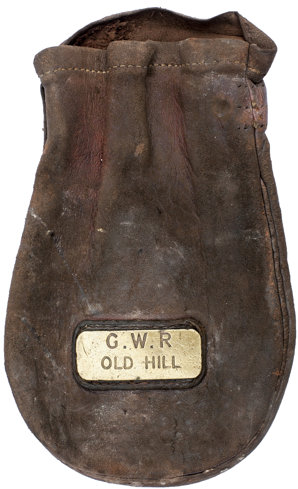 Lot 4 - GWR leather Cash Bag brass plated GWR OLD HILL. In very good condition.