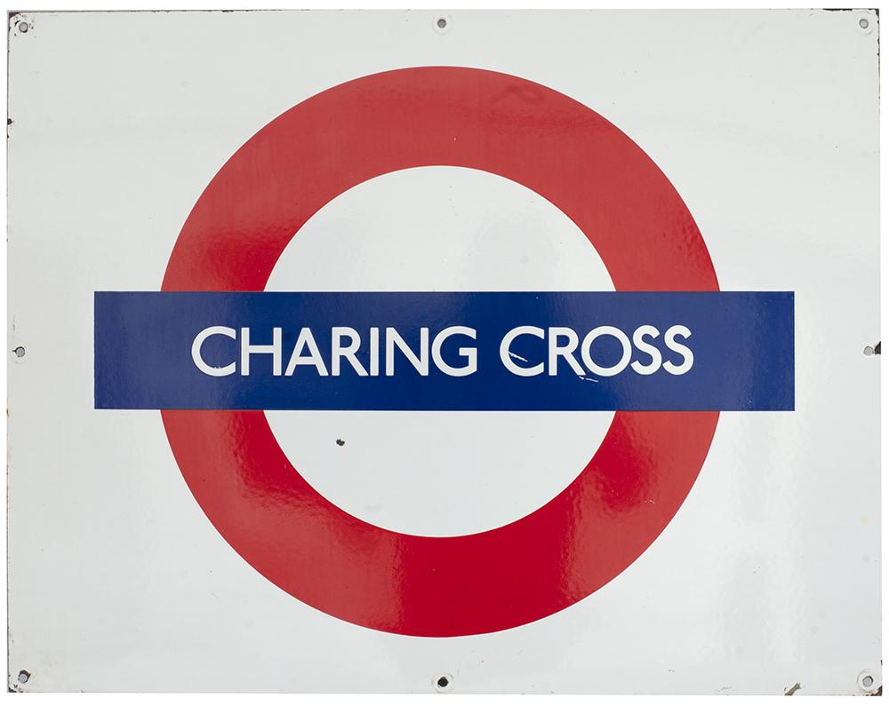 Lot 14 - London Transport Underground rectangular enamel target/bullseye sign CHARRING CROSS. In very good
