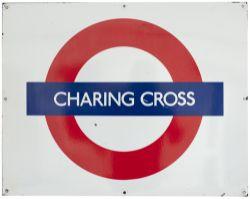London Transport Underground rectangular enamel target/bullseye sign CHARRING CROSS. In very good