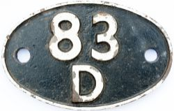 Shedplate 83D Laira 1950-1963 with sub sheds Launceston 1958-1962, Plymouth Docks to 1951 and
