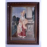 Lot 632 - A GOOD MID 19TH CENTURY CONTINENTAL EMBROIDERED SAMPLER PANEL depicting a female beside a classical