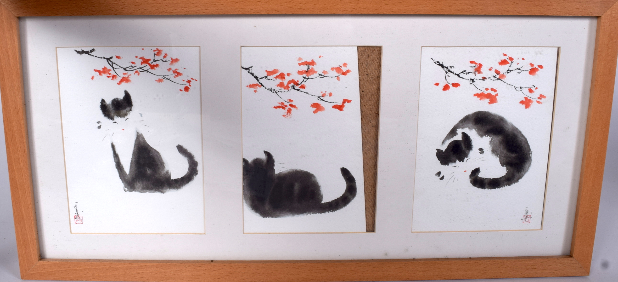 Lot 2705 - JAPANESE SCHOOL (early 20th century) FRAMED SET OF THREE WATERCOLOURS, each depicting a cat amongst