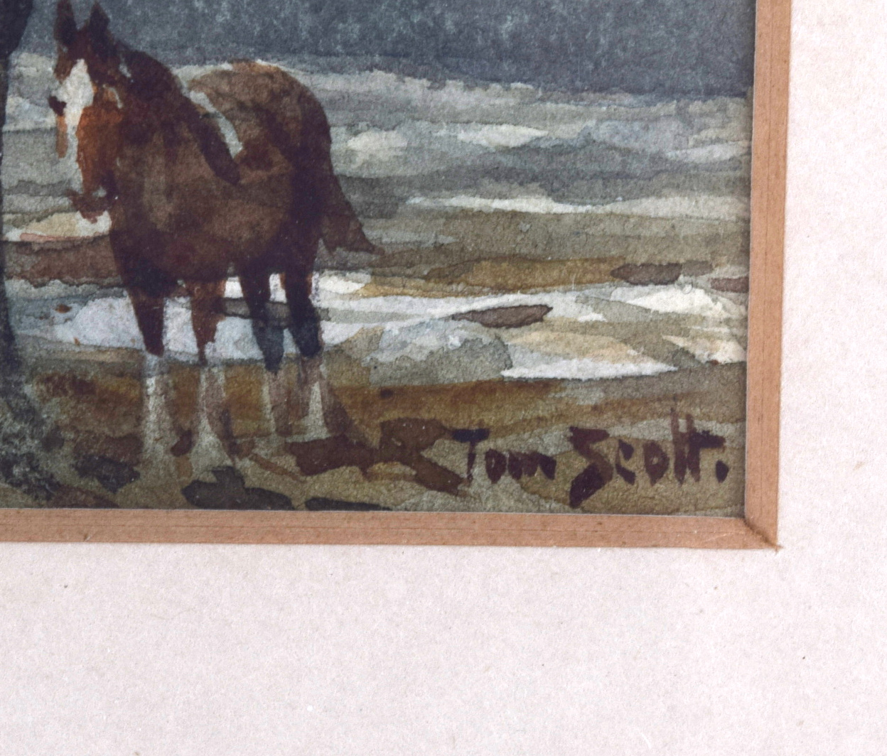 Lot 2488 - TOM SCOTT (1854-1927) FRAMED WATERCOLOUR, signed, a horse beside a tree in a landscape, label with