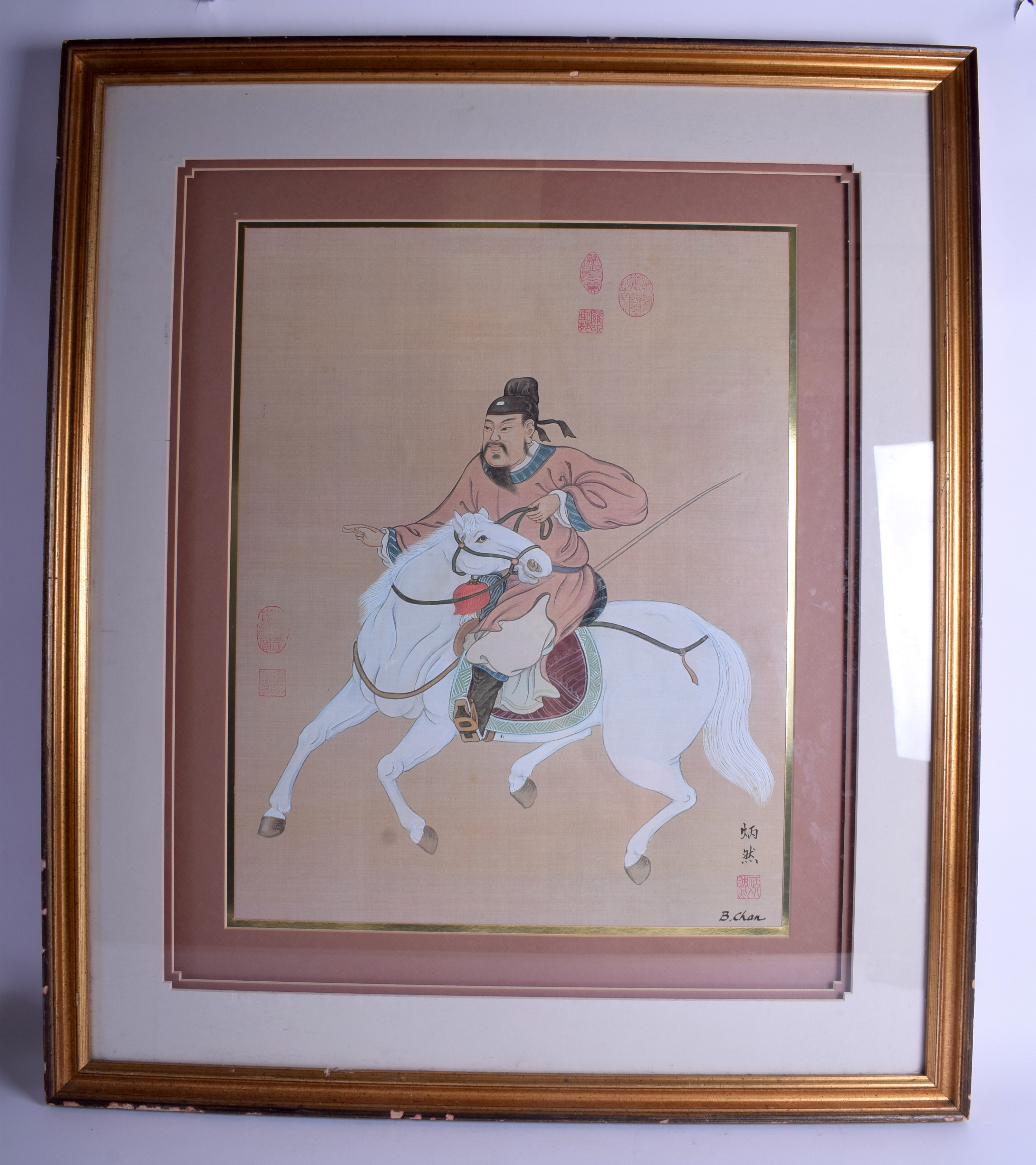 Lot 1644 - A LARGE EARLY 20TH CENTURY CHINESE FRAMED SILK WATERCOLOUR by Chen, painted with a warrior upon a h