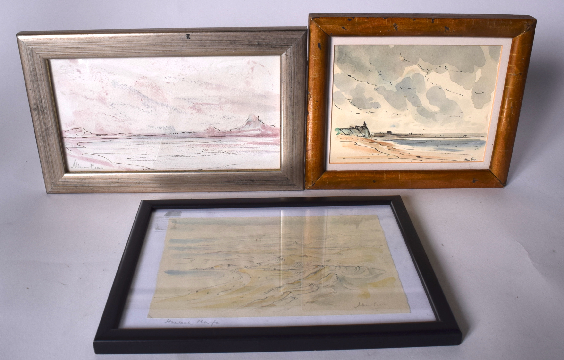 Lot 2129 - ALLEN FREER (b.1926) THREE FRAMED WATERCOLOUR, coastal landscape, together with two others similar.