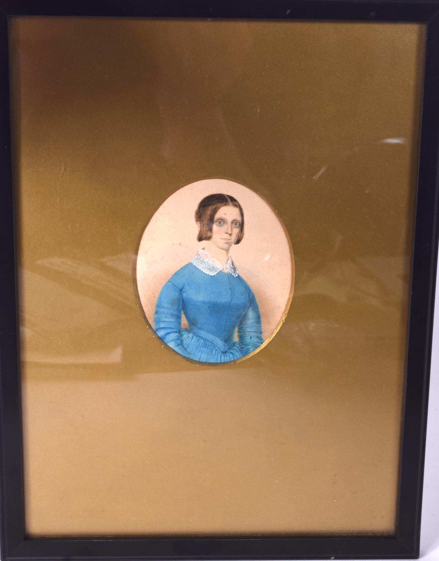 Lot 2384 - ENGLISH SCHOOL (19th/20th century) FRAMED WATERCOLOUR, half length miniature portrait of a female i