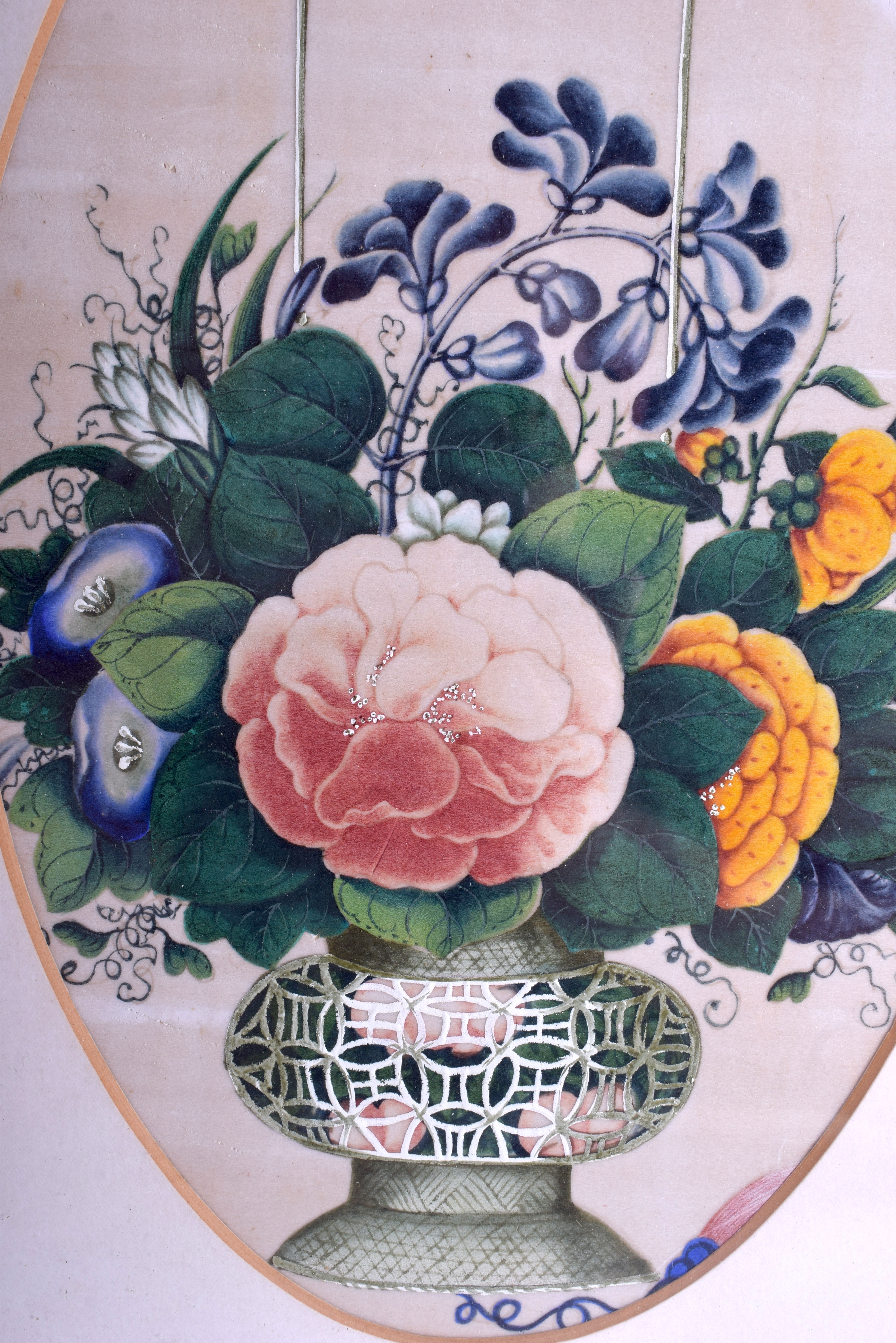 Lot 1633 - A LARGE PAIR OF 19TH CENTURY CHINESE FRAMED PITH PAPER WATERCOLOURS Qing, painted with floral bouqu