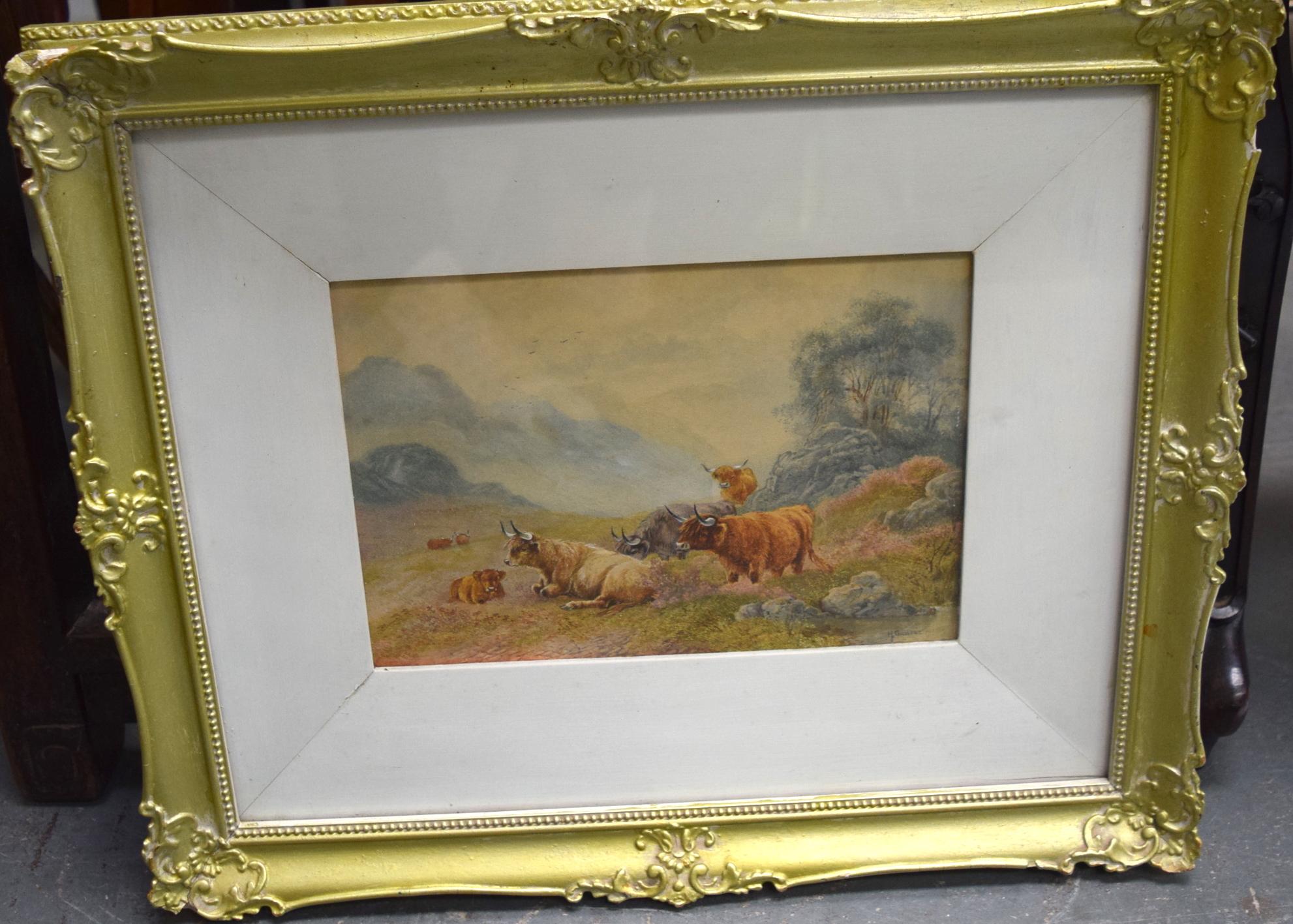 Lot 2789 - H GILBERT (British) FRAMED WATERCOLOUR, signed, cattle in highland scene. 16.5 cm x 24.5 cm.
