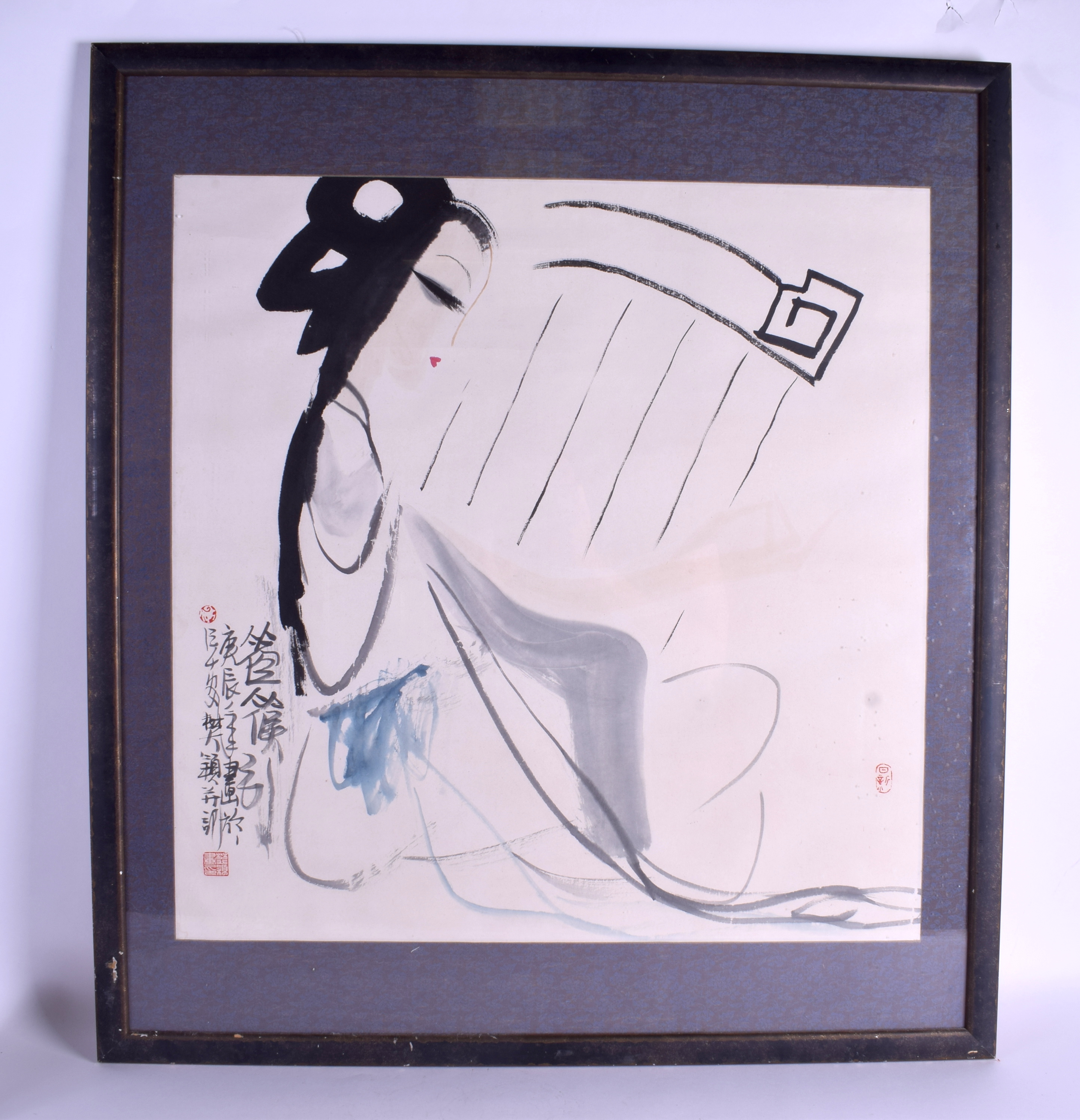Lot 1327 - A MID 20TH CENTURY CHINESE FRAMED WATERCOLOUR C1940 entitled Kong Hou Jin, by Fan Ying. Image 66 cm