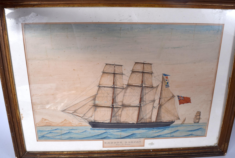 "Lot 2581 - CAPTAIN HARRISON BAXTER (19th century) FRAMED WATERCOLOUR, ""Barque Zodiac"", a ship in a seascape. 3"