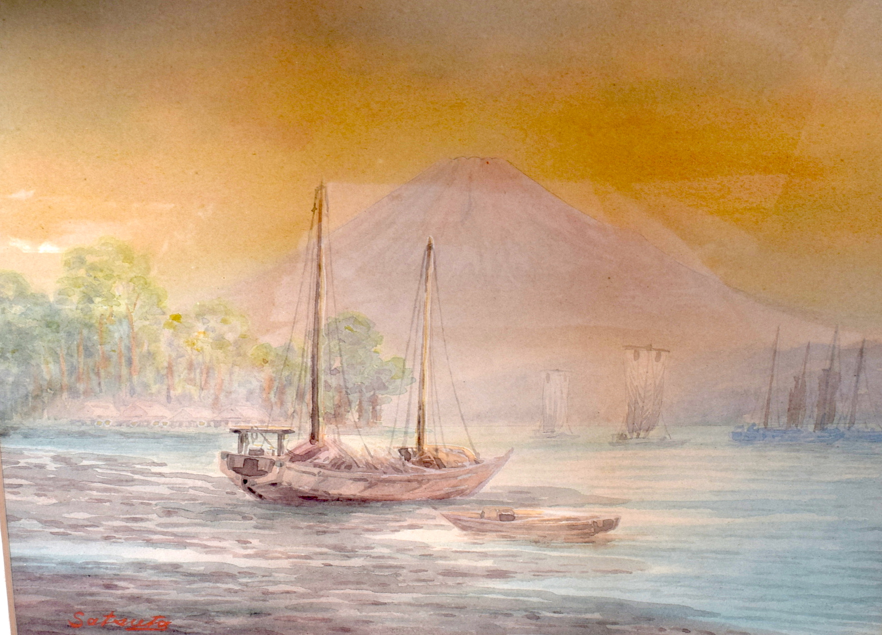 Lot 2591 - JAPANESE SCHOOL (early 20th century) FRAMED WATERCOLOUR, signed, boats with Mount Fuji in the backg