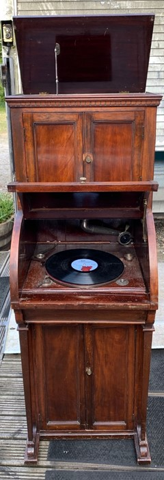 Lot 730 - Gramophone in case with roll top front good used condition