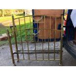 Lot 729 - Edwardian brass double bedstead 4' 6'' wide.