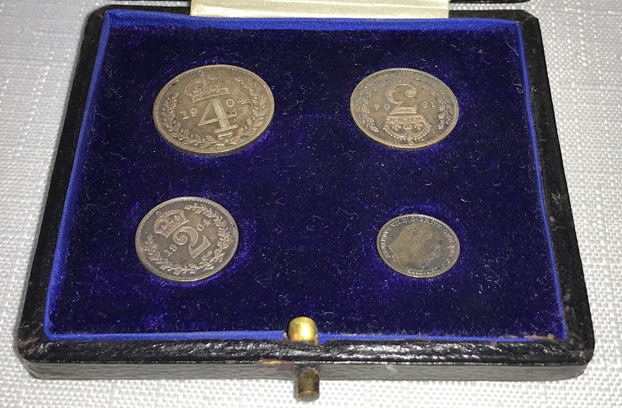 Lot 42 - Great Britain, 1904 Maundy Money four-coin set, Edward VII, rev crowned denomination dividing date