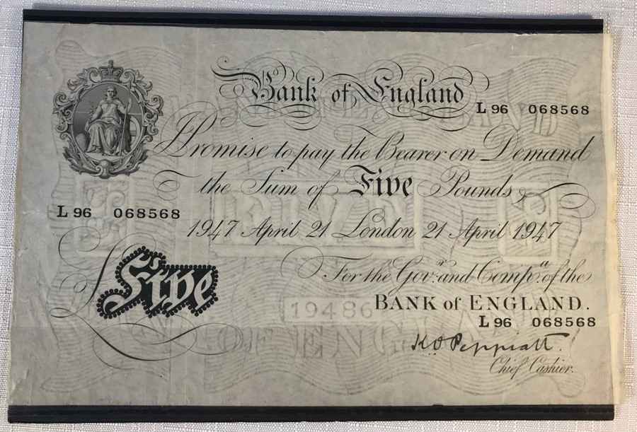 Lot 45 - BRITISH BANKNOTE - BANK OF ENGLAND, Bank of England 'Five Pound' banknote, large white, £5