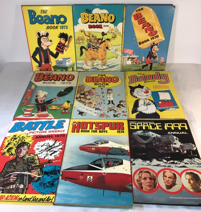 Lot 33 - A collection of The Beano books, including 1970, 72, 73, 74 and 76, A Dandy book and others. (9)