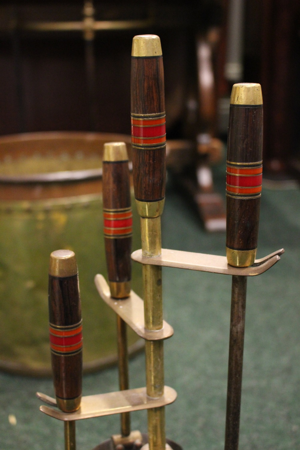 Lot 359 - A SET OF MID CENTURY MODERN STYLE BRASS FIRE IRONS, with wooden handles