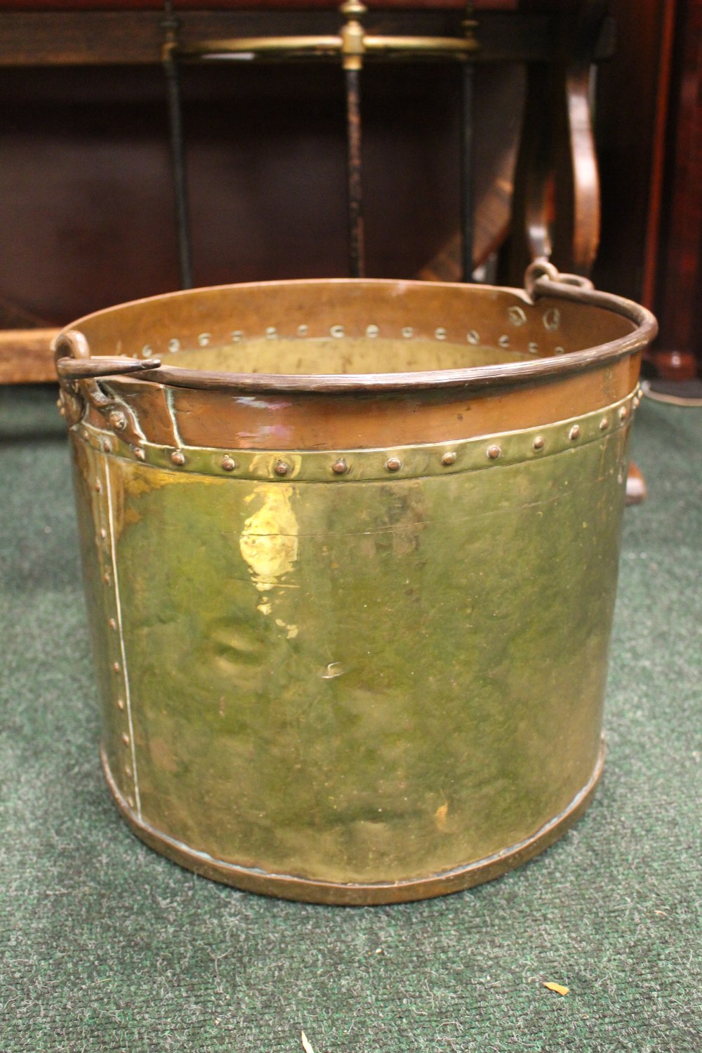 """Lot 360 - A BRASS & COPPER COAL / LOG BUCKET, with cast iron handle, beaded detail to rim and joining, 18"""" x"""