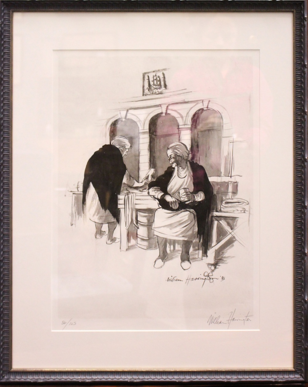 """Lot 303 - WILLIAM HARRINGTON, """"COAL QUAY STALL HOLDERS"""", limited edition print, signed lower right, numbered"""