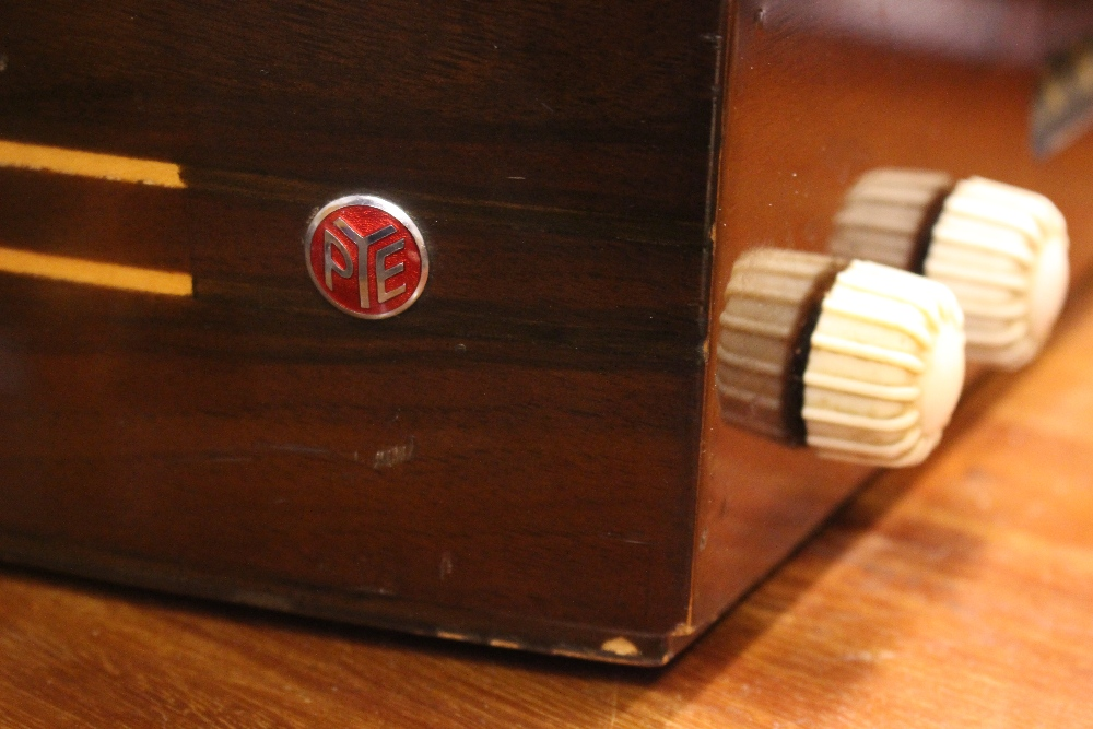 """Lot 227 - A VINTAGE 'PYE' BOXED RECORD PLAYER, with high gloss look, 17.5"""" x 13"""" x 11"""" approx case"""