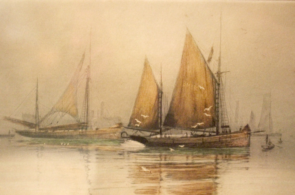 Lot 48 - HENRY G. WALKER, A PAIR OF PRINTS, (i) Ships in an Estuary, (ii) Anchored boats, both signed on