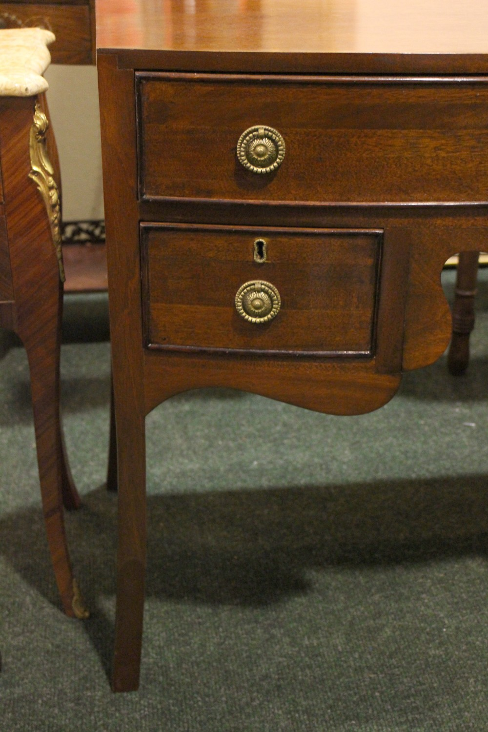 """Lot 11 - A LATE 19TH CENTURY MAHOGANY BOW FRONTED 3 DRAWER SIDE TABLE, on down swept feet, 19"""" x 36"""" x 29"""""""