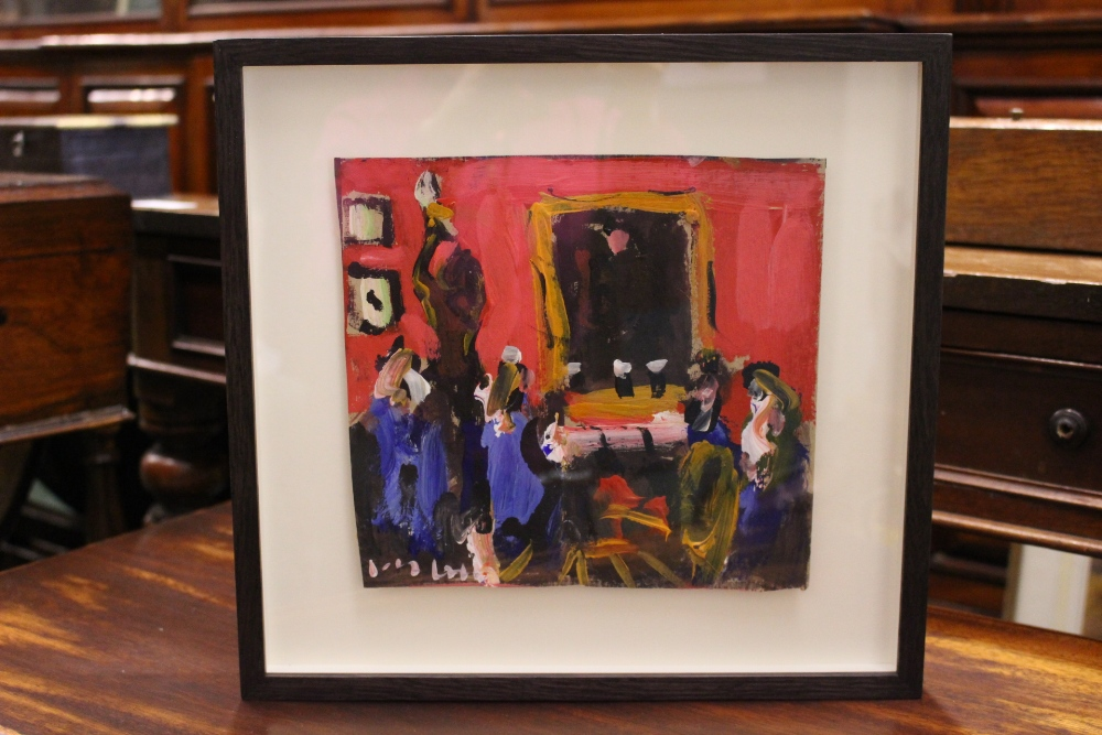 "Lot 59 - MARIE CARROLL, ""A PINT AT THE SHELBOURNE"", acrylic on card, signed lower left, 9"" x 8.5"" approx"