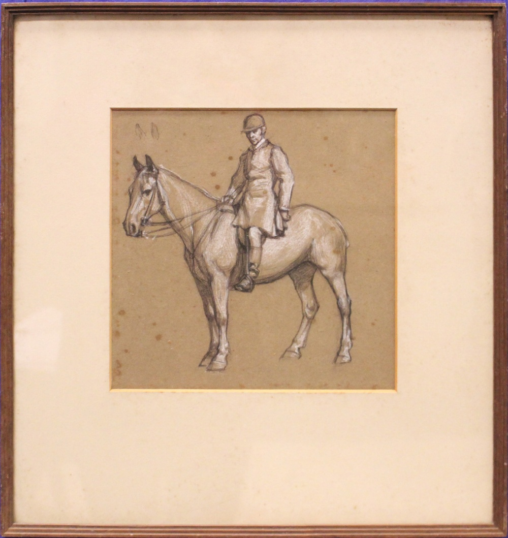 """Lot 29 - DERMOD O'BRIEN, P.R.H.A (1865 - 1945), """"STUDY OF A MAN ON HORSE"""", pencil & whitening, on paper,"""