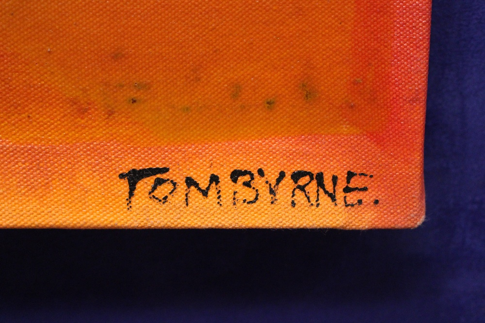 "Lot 55 - TOM BYRNE, ""ABSTRACT"", mixed media on canvas, signed lower right, Apollo Gallery stamp verso, 37."