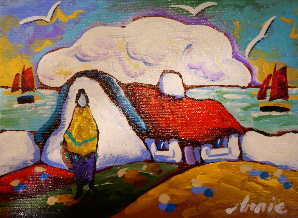 "Lot 60 - ANNIE ROBINSON, ""WALKING HOME, A FIGURE BY A THATCHED COTTAGE"", acrylic on canvas, signed lower"