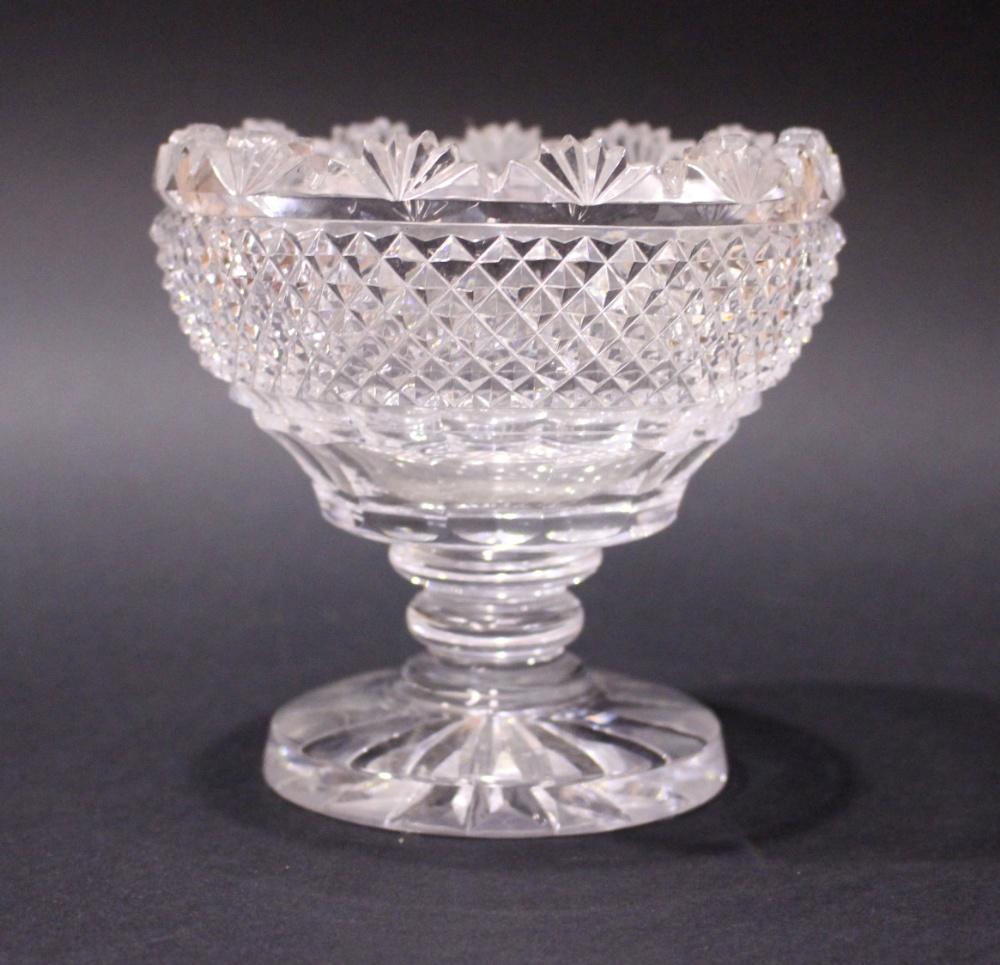 Lot 30 - A FINE LATE 19TH CENTURY, CUT GLASS STANDING BOWL, with a fan-cut scalloped rim, above diamond cut