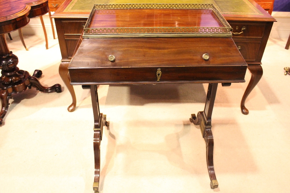 Lot 49 - A VERY FINE & RARE IRISH GEORGIAN DOMED TOP SIDE CABINET / WRITING DESK, with domed lift top
