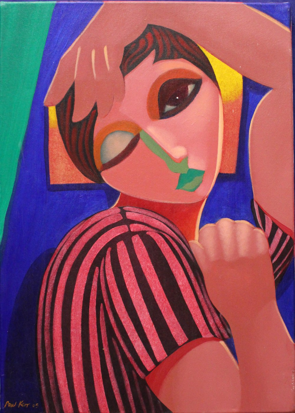 "Lot 28 - PAUL KERR, ""GIRL WITH STRIPED TEE-SHIRT"", acrylic on canvas, signed & dated lower left & verso,"