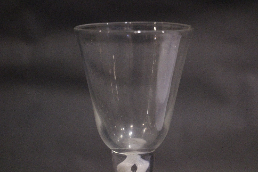 """Lot 17 - AN 18TH CENTURY DOUBLE OPAQUE TWIST STEM WINE GLASS, 6.75"""" tall approx, in excellent condition"""