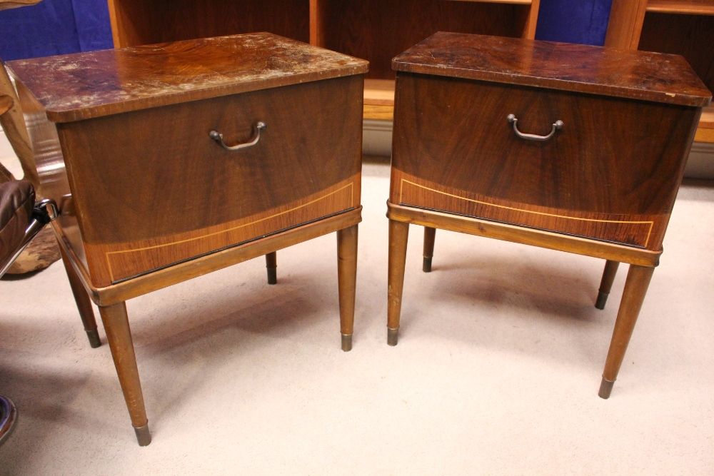 Lot 6 - A PAIR OF WALNUT INLAID NIGHT STANDS / LOCKERS, with fall front doors having inlaid detail, raised