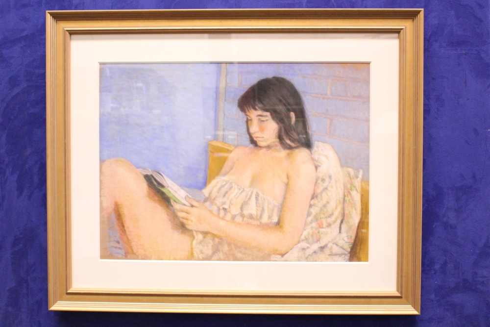 "Lot 32 - COLETTE MILLS, ""GIRL READING"", pastel on paper, signed lower right, 35"" x 28"" approx frame"