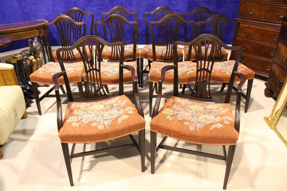 Lot 47 - A SET OF FINE 19TH CENTURY HEPPLEWHITE STYLE DINING CHAIRS, with pierced splat backs, curved crest