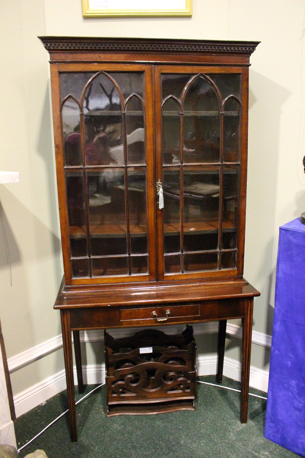 Lot 8 - A VERY FINE GEORGIAN 2 DOOR DISPLAY CABINET, with astragal glazed doors, shelved interior, raised on