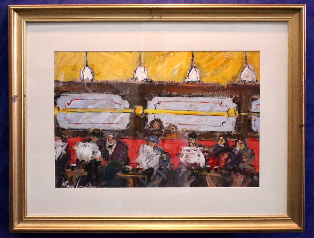 """Lot 46 - MARIE CARROLL, """"AN EVENING DRINK"""", oil on card, signed lower left, 28"""" x 18.5"""" approx board, 40"""" x"""