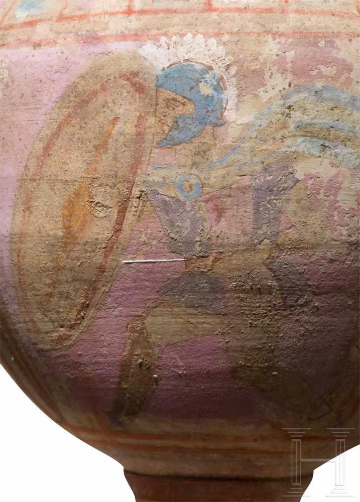Lot 1657 - Volutenkrater mit Kriegerdarstellung, Canosa, Unteritalien, Ende 4. - 3. Jhdt. v. Chr.Polychromer