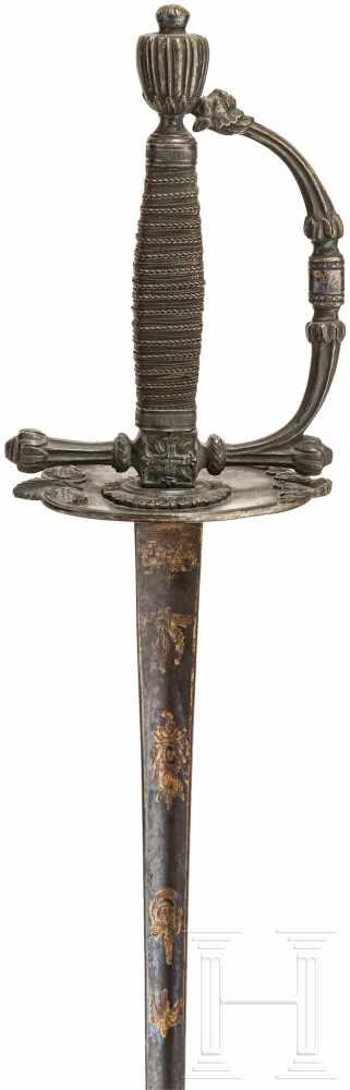 Lot 3172 - Degen für Offiziere im preußischen Stil, Ende 18. Jhdt.Zweischneidige Stichklinge von sechseckigem