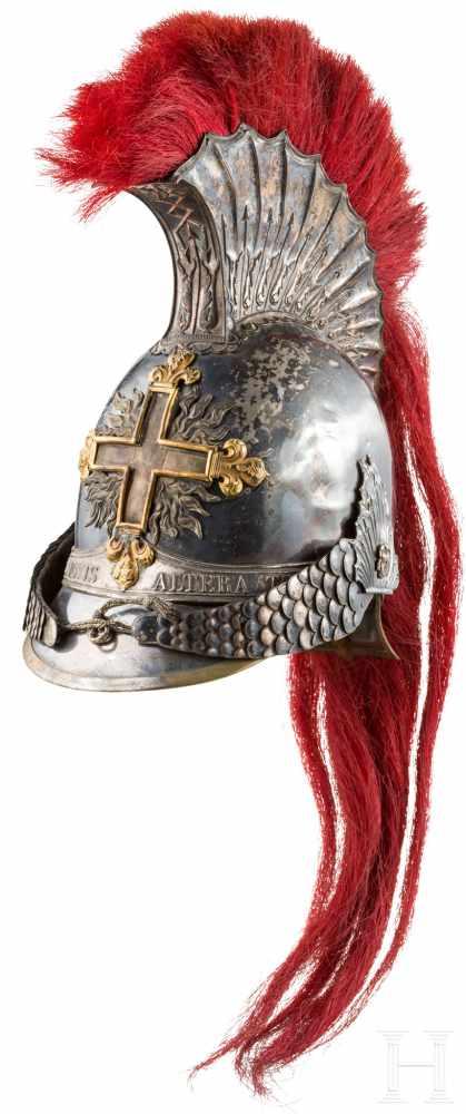 Lot 3173 - Helm, Säbel und Degen der Mousquetaires noirs de la Maison du Roi, um 1814/15Helm eines Trompeters