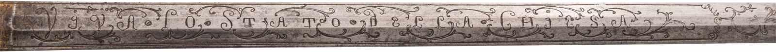 Lot 4409 - Silbermontierter, vergoldeter Offiziersdegen der vatikanischen Garde, 2. Hälfte 18. Jhdt.