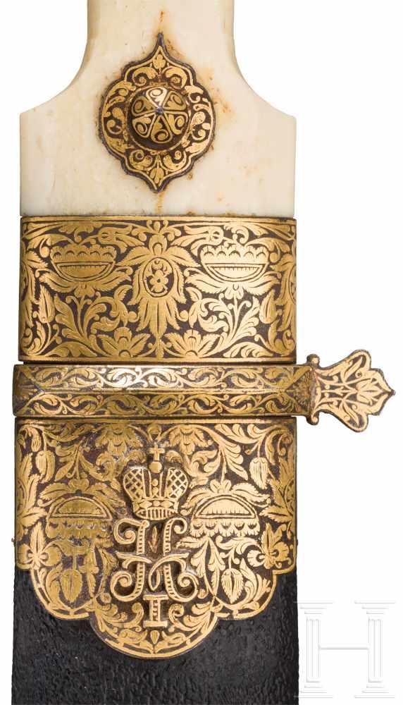 """Lot 4314 - Prunkvoller, goldeingelegter Kinzal mit Zarenchiffre """"N I"""" für Nikolaus I., Russland/Georgien, Mitte"""