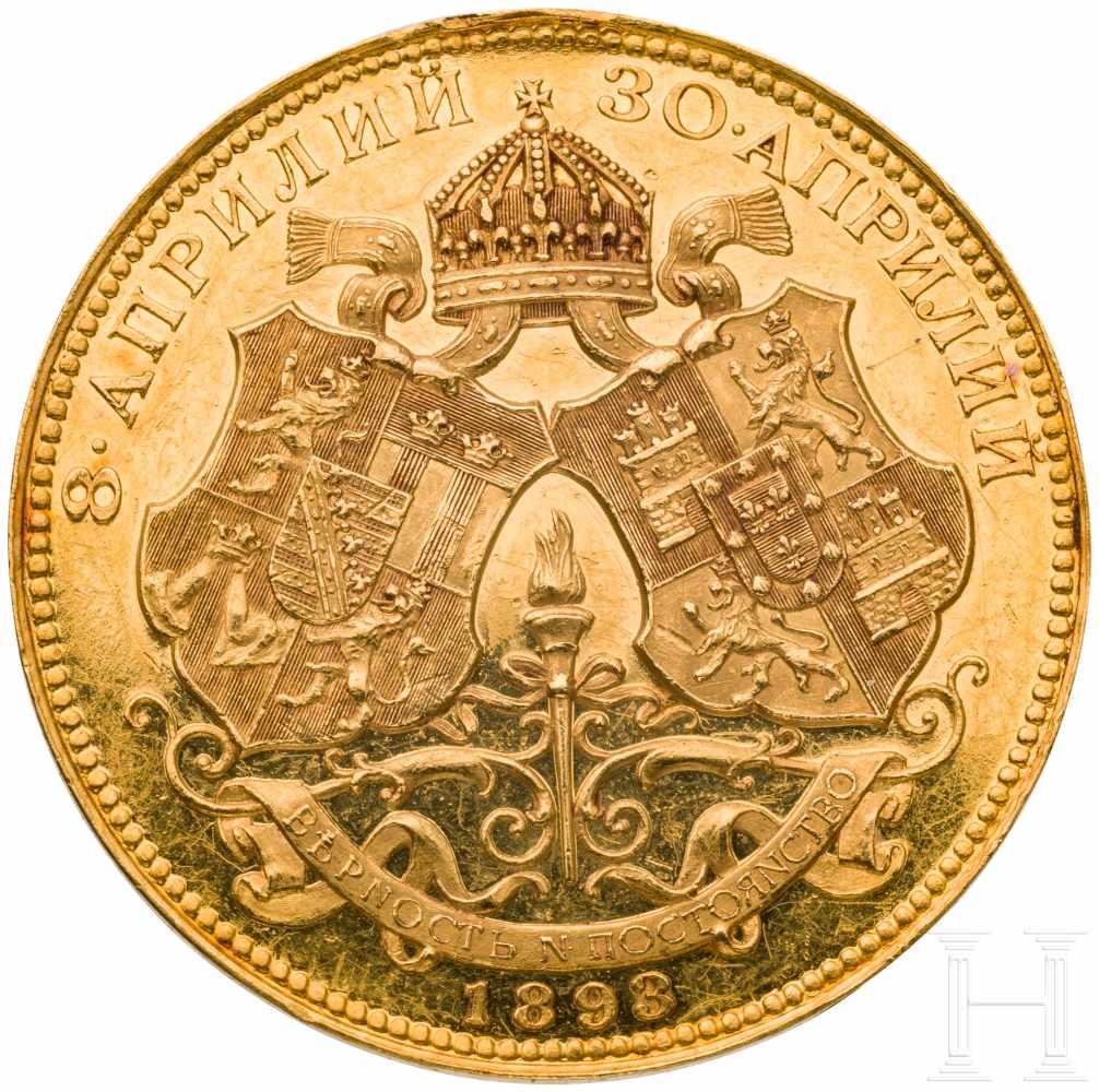 Lot 3854 - Bulgarischer Zar Ferdinand I. (1887 - 1918), goldene Medaille auf seine Vermählung mit Maria Luise