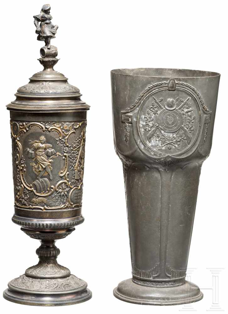Lot 3987 - Zwei Schützenpokale aus Zinn, 19. Jhdt.Deckelpokal mit Innenvergoldung, die partielle Vergoldung der