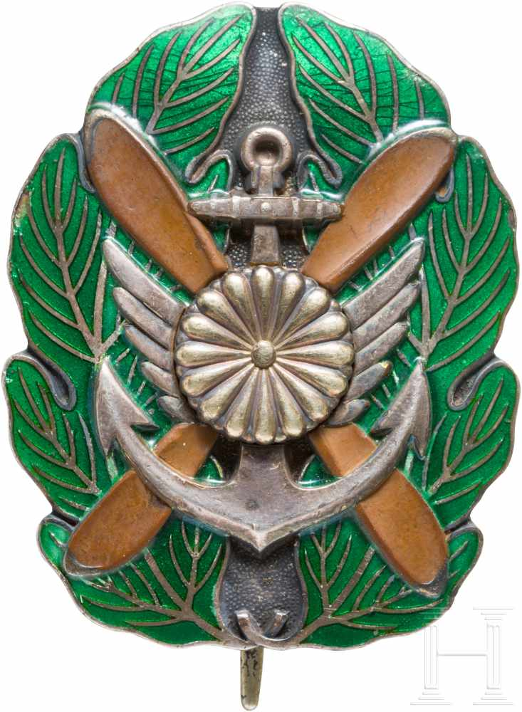 Lot 3869 - Leistungsabzeichen für Offiziere der Marineflieger, 2. WeltkriegSilber, Buntmetall, grün